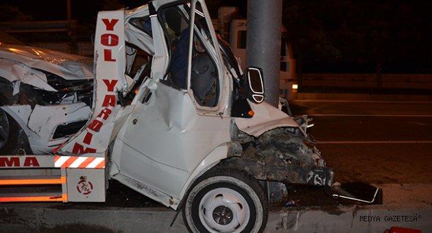 Kahramanmaraş'ta direğe çarpan çekicinin sürücüsü hayatını kaybetti